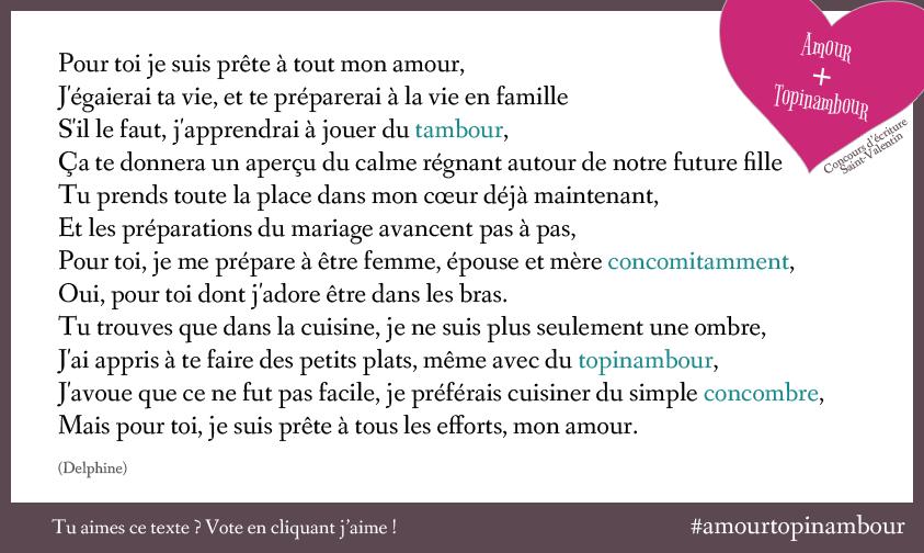 Texte Amour Topinambour de Delphine