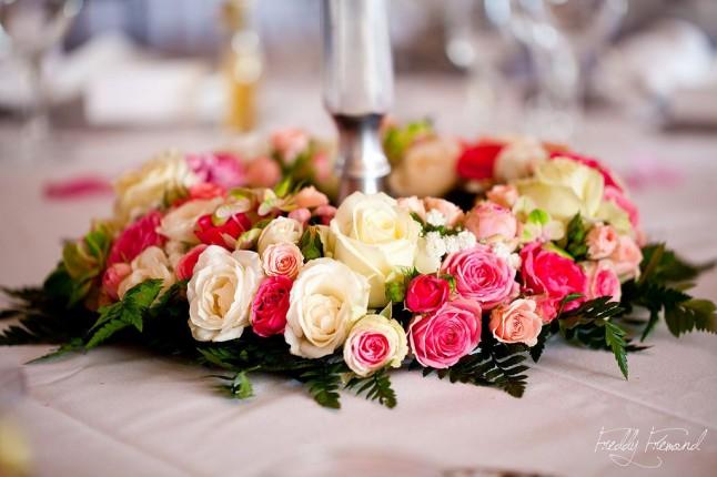 Centre de table roses Freddy Frémond
