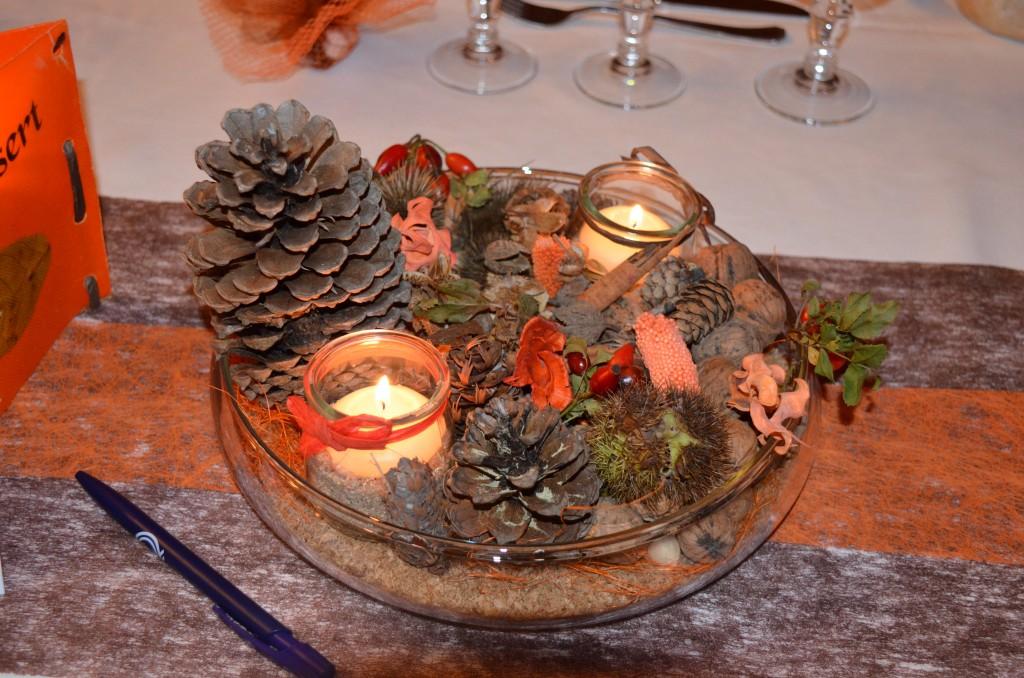 Centre de table mariage automne pot-pourri bougie