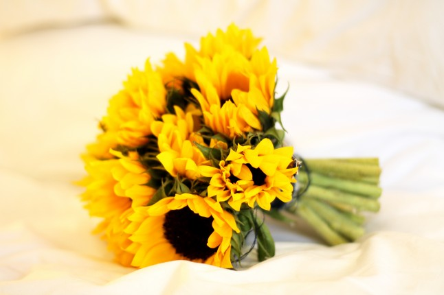 Bouquet de mariée tournesols