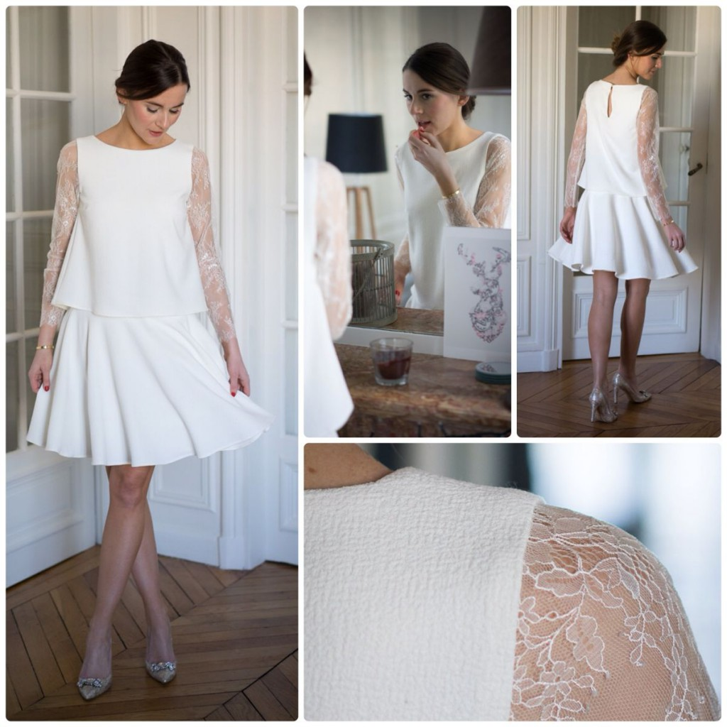 Robe blanche manches longues dentelle L'atelier de Camille
