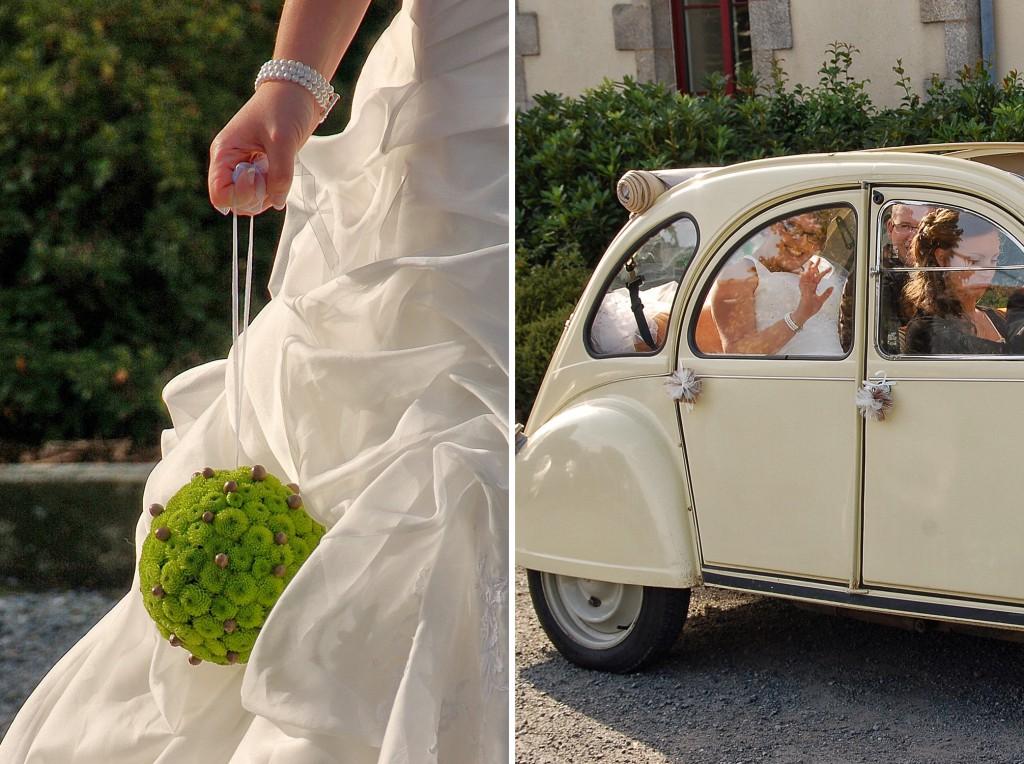 bouquet boule mariée - voiture des mariés 2 CV