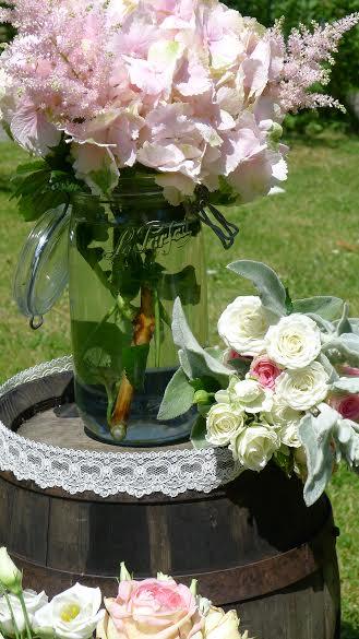 déco florale de mariage champêtre pastel