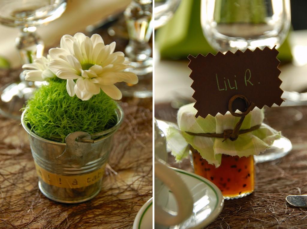 déco de table nature et cadeau d'invité pot de confiture