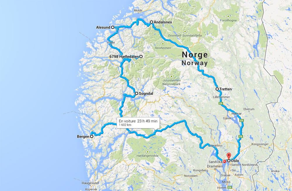 trajet voyage de noces en Norvège