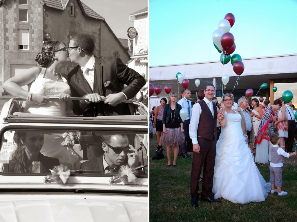voiture des mariés et lacher de ballons