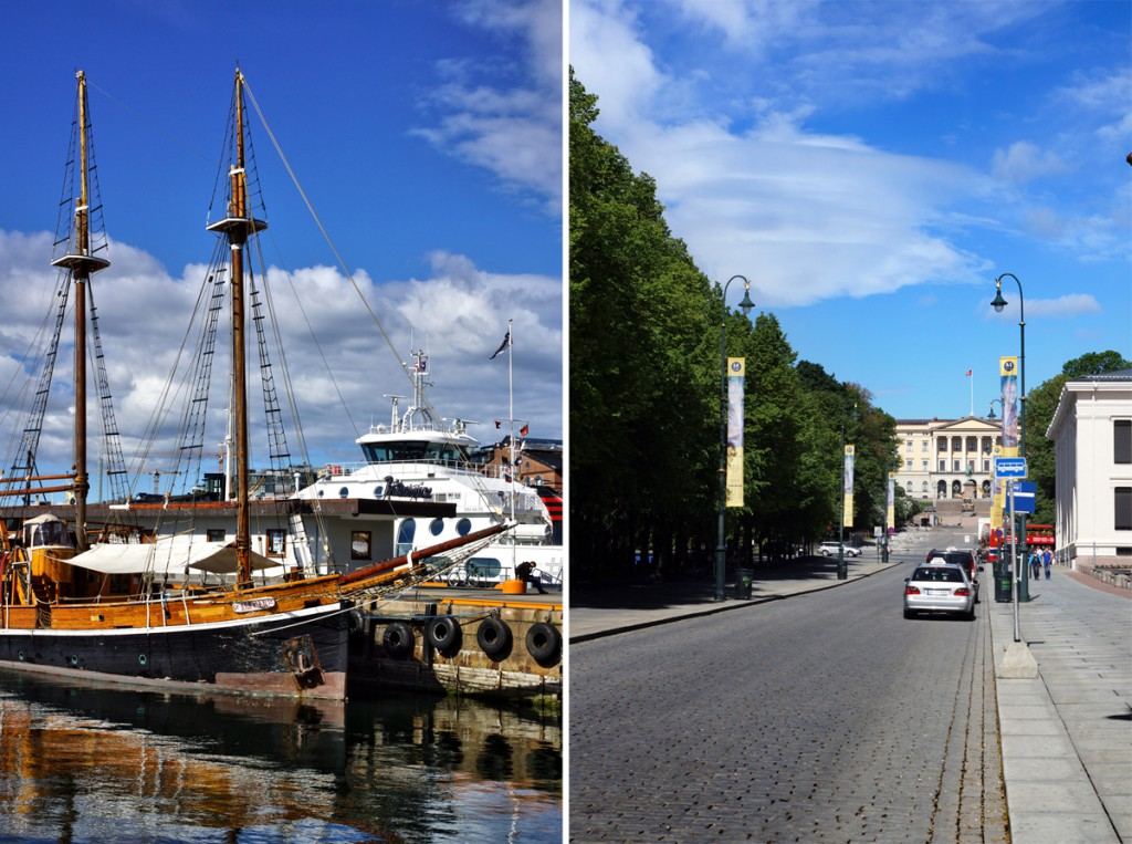 Oslo - le port - Karl Johans Gate vue vers le palais royal