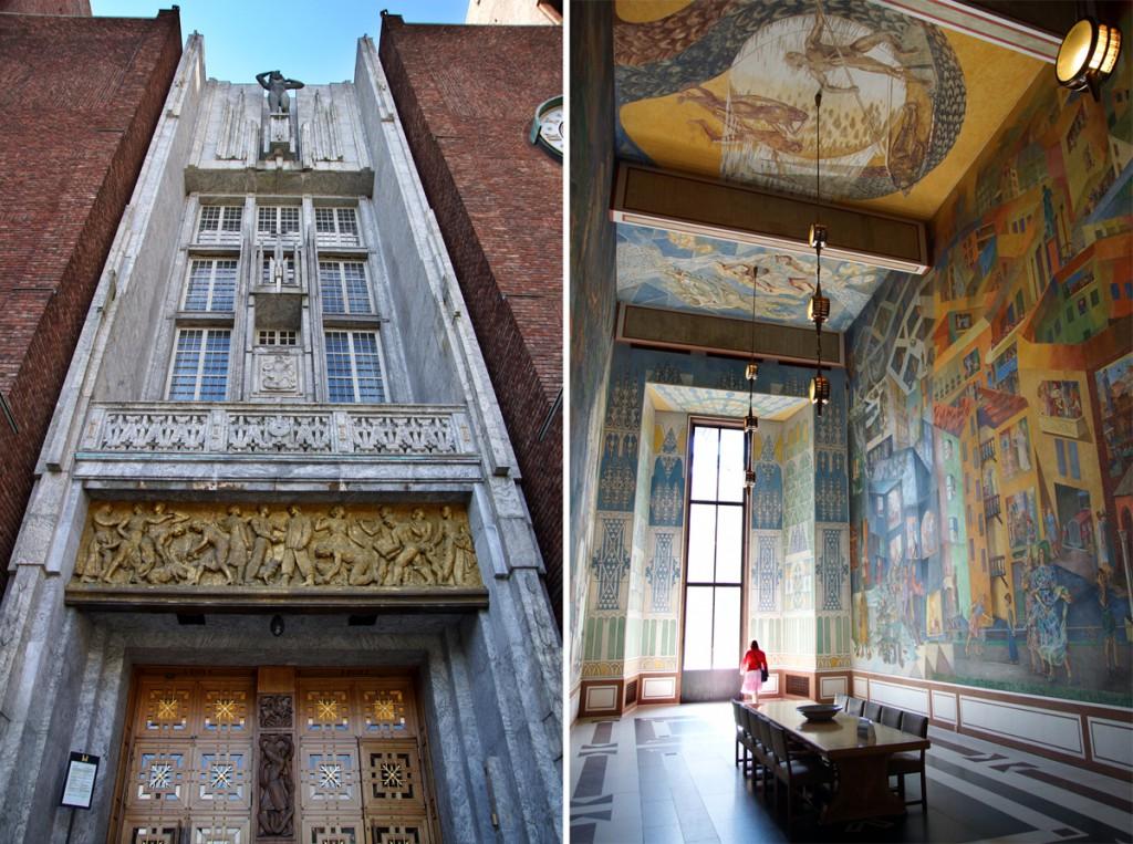 hôtel de ville Oslo - porte et intérieur