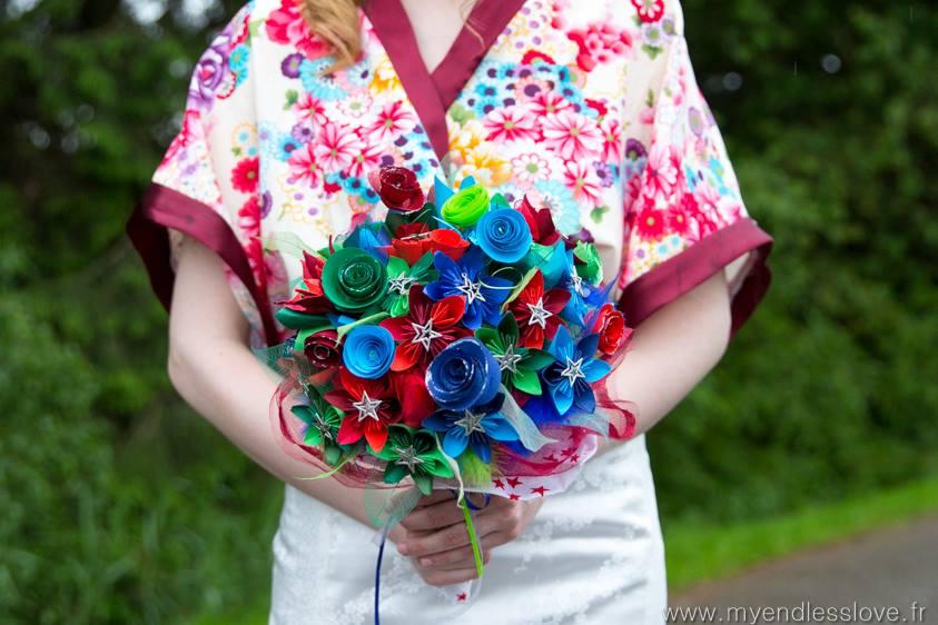 Bouquet de mariée en fleur en papier