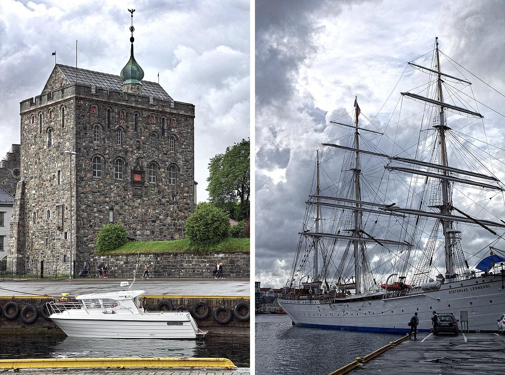 Hakonshallen et voilier dans le port de Bergen