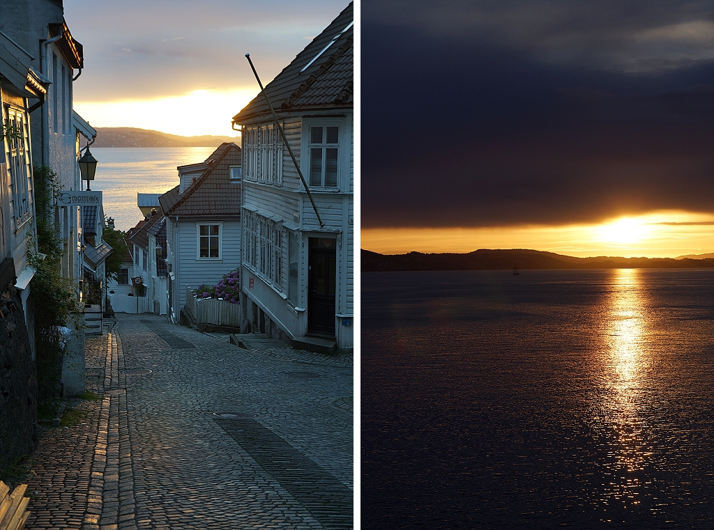 coucher de soleil sur Bergen