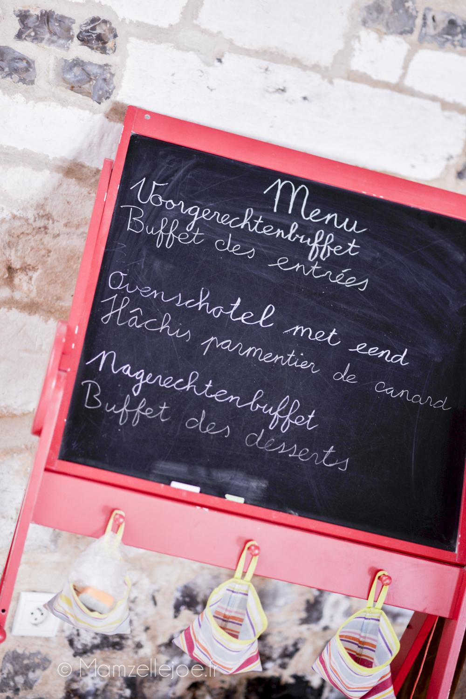 menu sur tableau