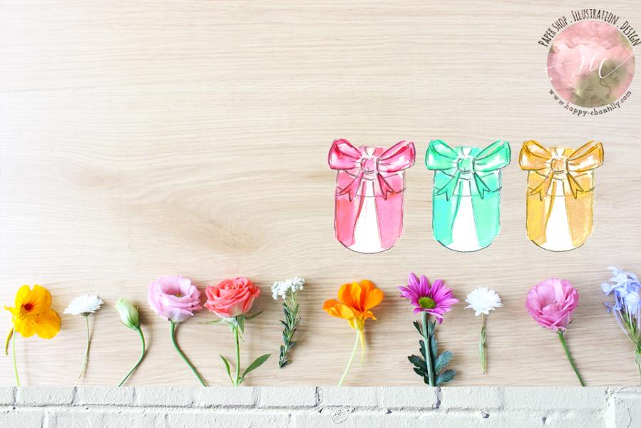 box_mariage_faire_part_decoration_mariage_orginal_illustration_peinture_aquarelle_happy_chantilly