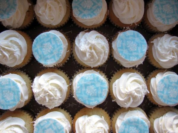 Cupcakes en bleu et blanc