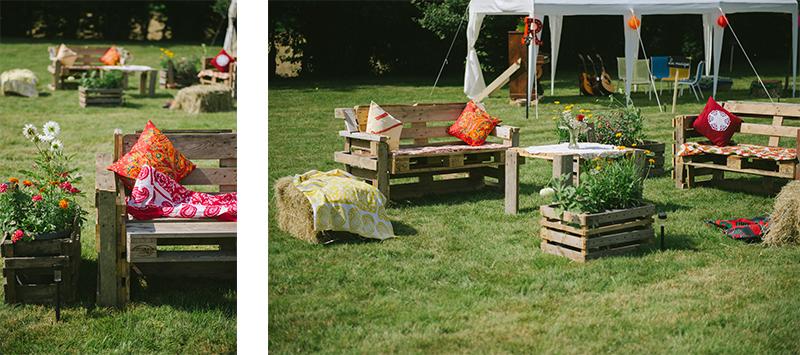 mobilier de jardin fait avec des palettes
