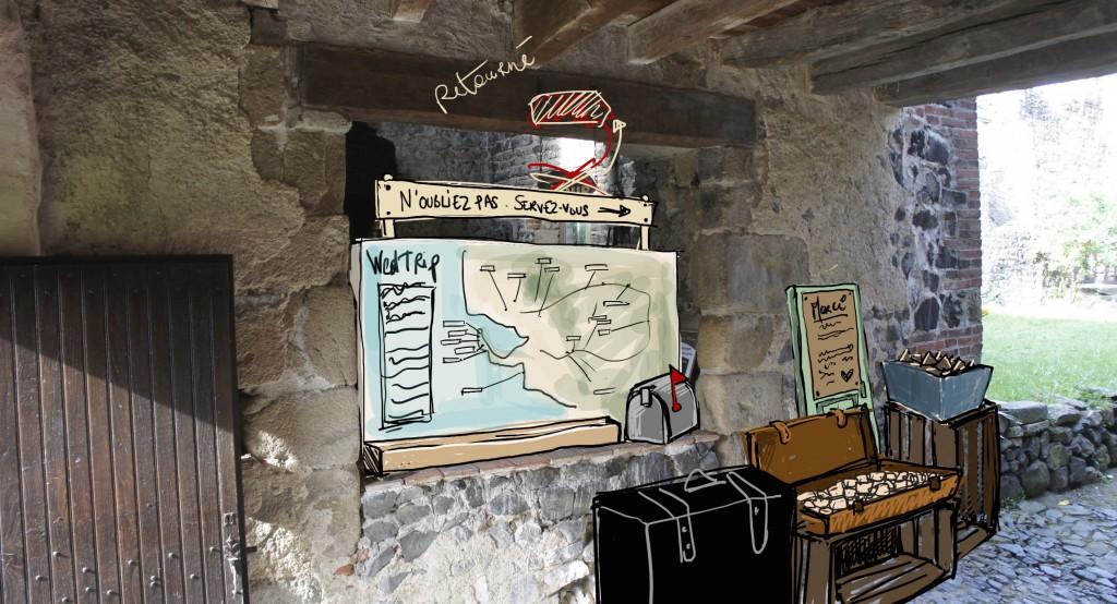 Le panneau de notre voyage de noce, l'urne, les cadeaux d'invités (pas de dragées!)