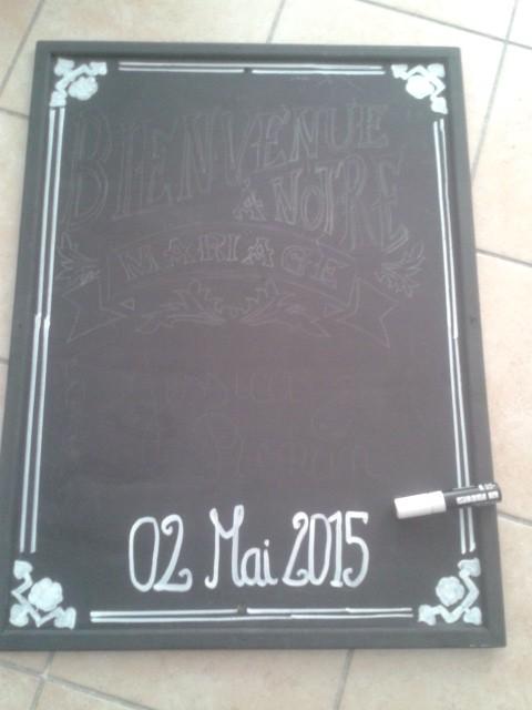 Le tableau de bienvenue et le menu sur une ardoise