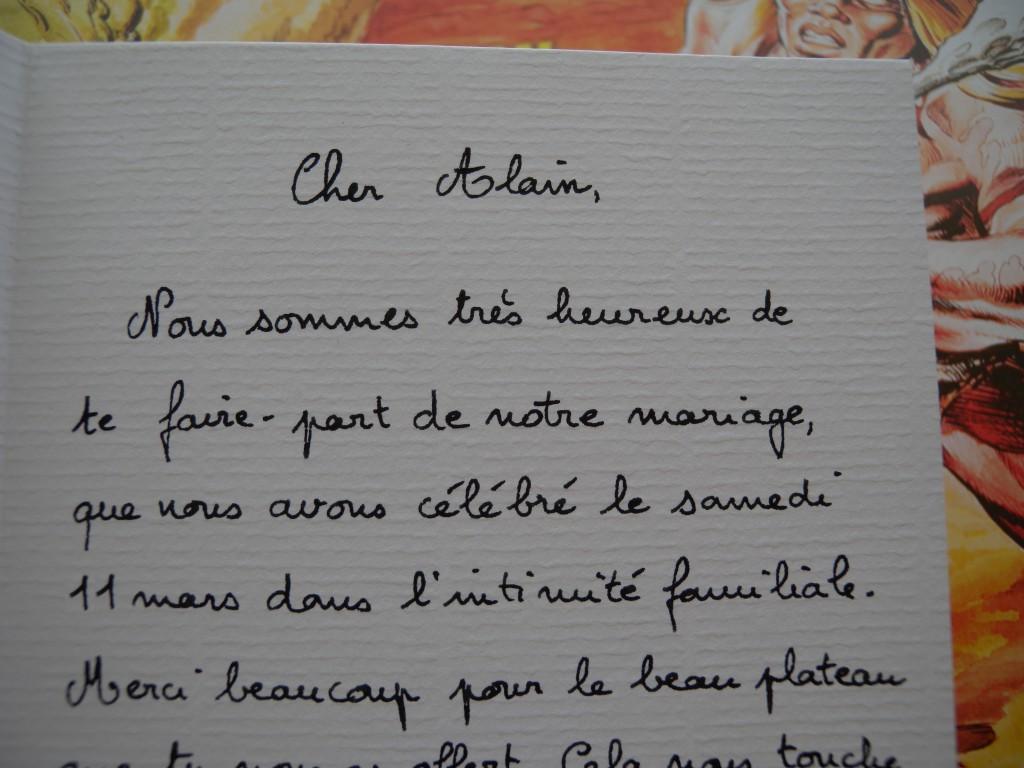 Nos lettre manuscrite pour prévenir de notre mariage