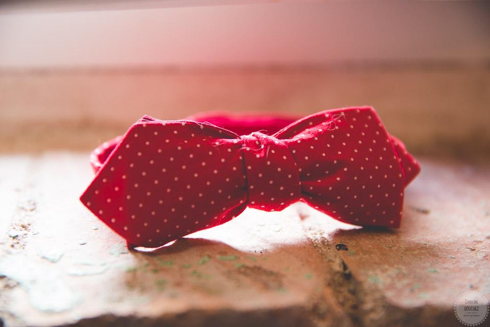 Un noeud pap Colonel Moutarde en rouge et blanc pour le marié // Photo : Caroline Bouchez