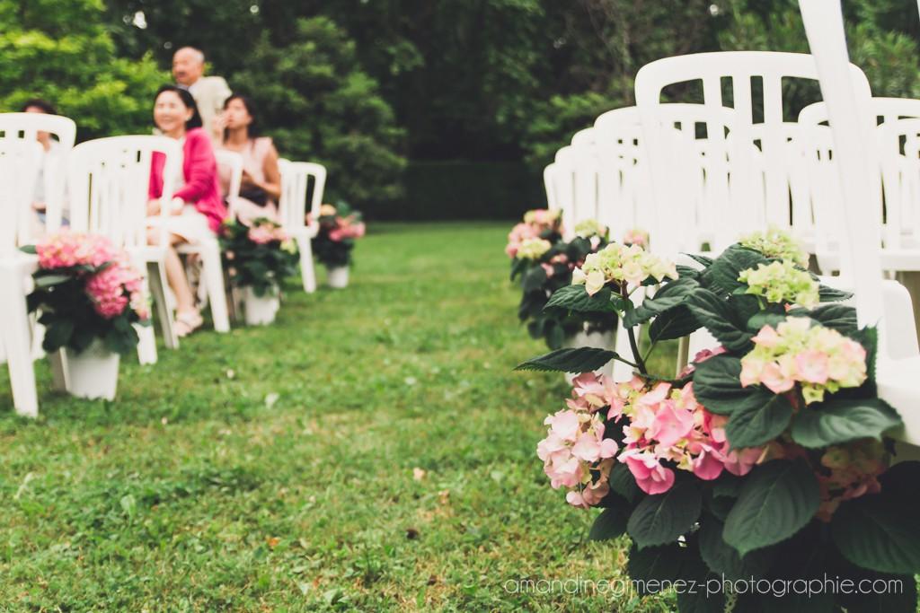 Hortensias en pot le long de l'allée de notre cérémonie // Photo : Amandine Gimenez
