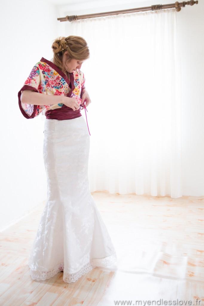 Habillage et robe de mariée avec kimono // Photo : My Endless Love