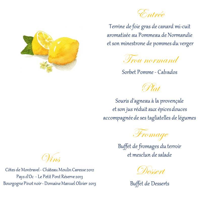 Notre papeterie DIY sur le thème des citrons : le menu