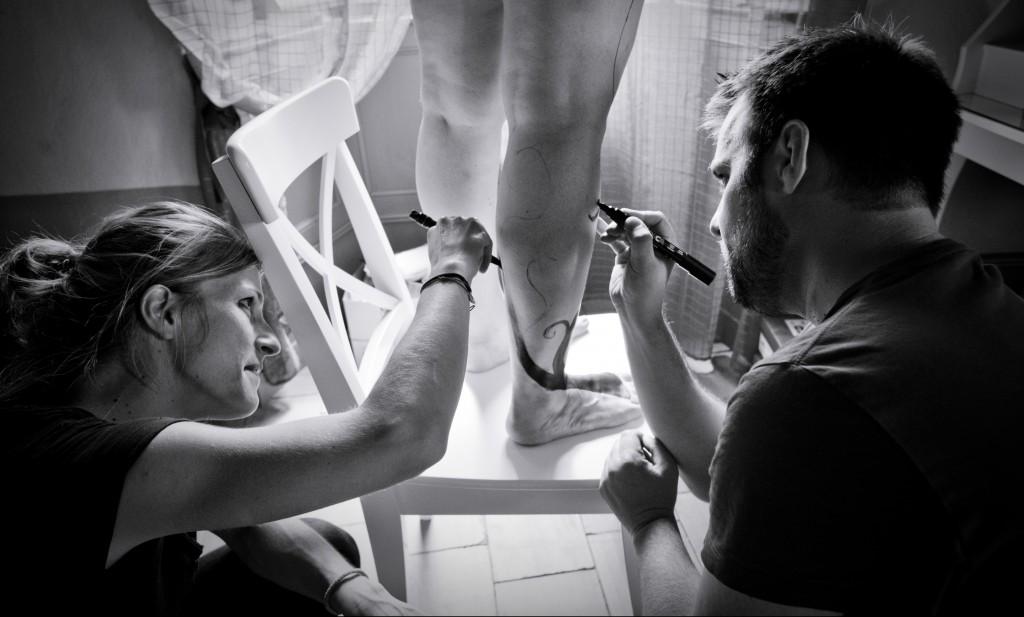 Bodypaiting de mariage par Armelle Drouin et Romain Lubière // Photo : Pierre Grasset