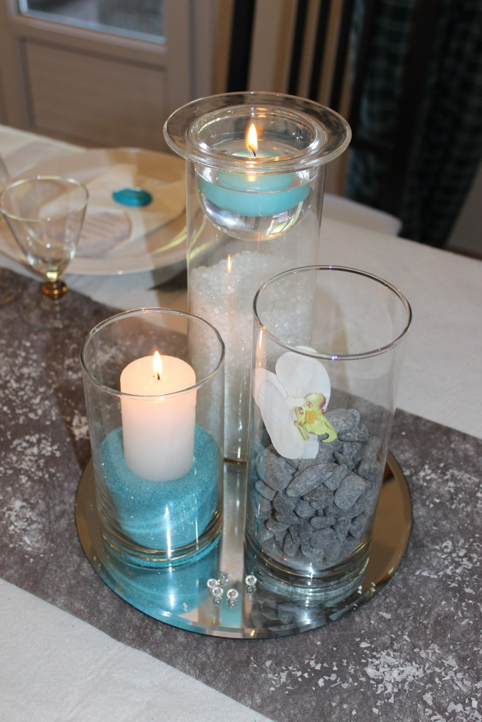 Essais pour mes centres de table en bleu, blanc et argent