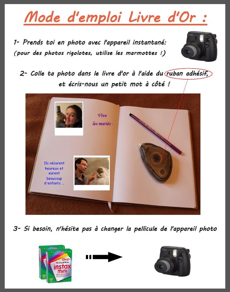 mode d'emploi livre d'or polaroid