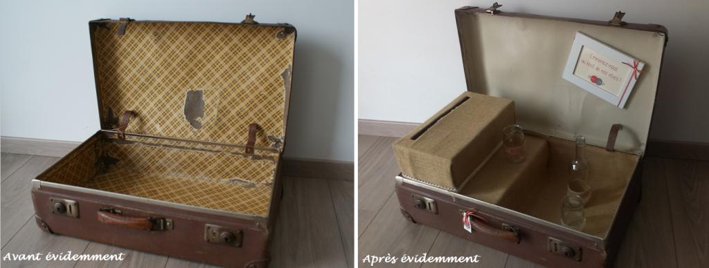 La déco de mon mariage : l'urne avec une vieille valise