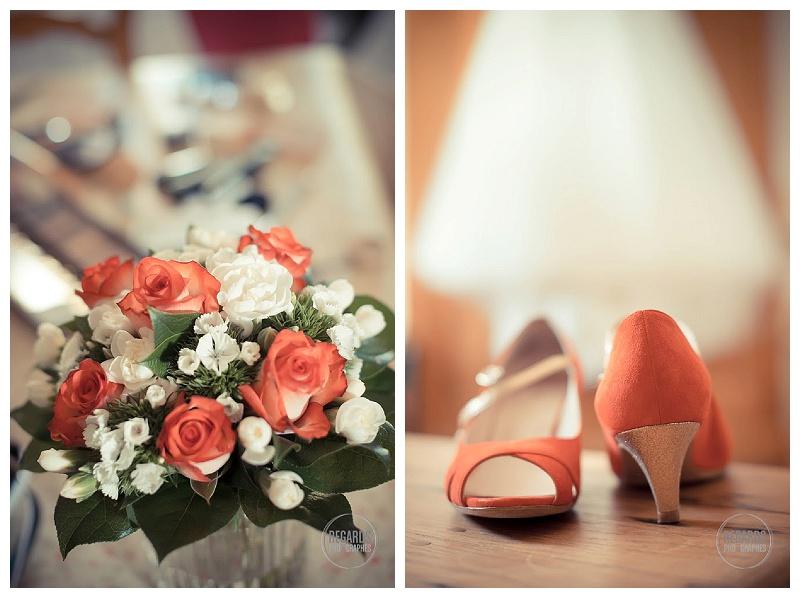 bouquet et chaussures de mariée rouges