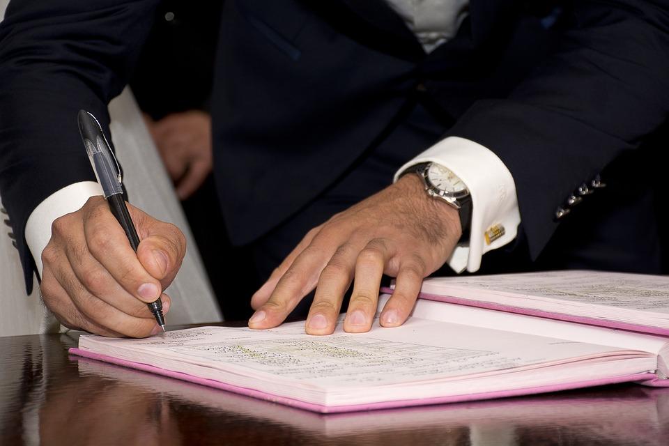 mariage civil signature