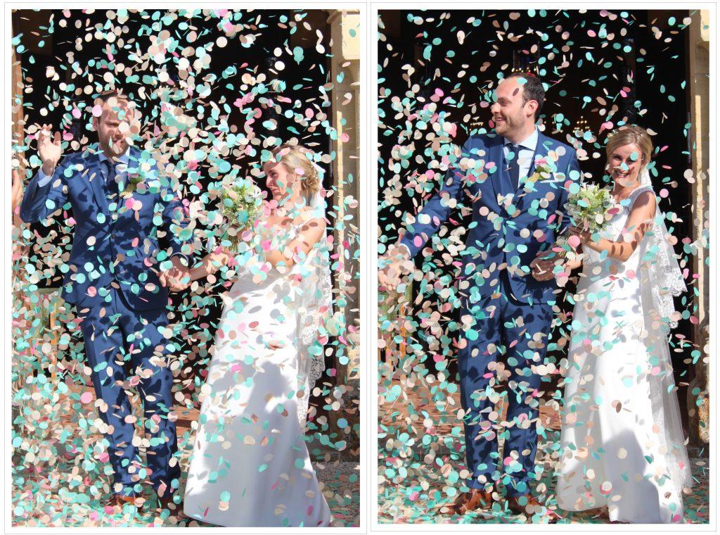 Sortie de l'église sous les confettis !