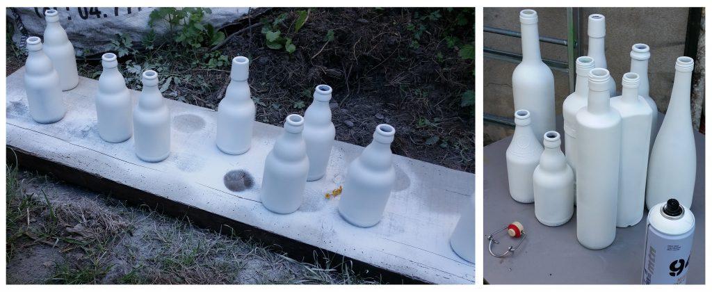 Bouteilles vases blancs pour mariage