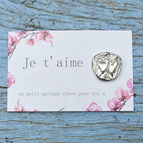 Ma wishlist Etsy : du bleu et du made in France - Carte Je t'aime - médaillon argent