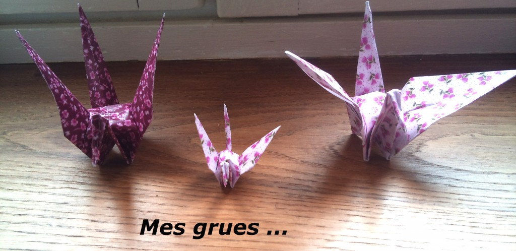 grues en origami papier liberty