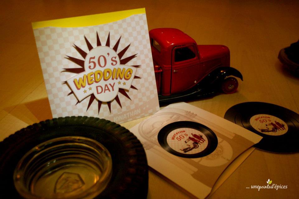 Faire part style année 50 rock 'n roll