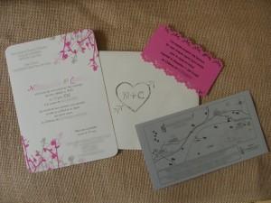 Faire-parts champêtre rose et gris