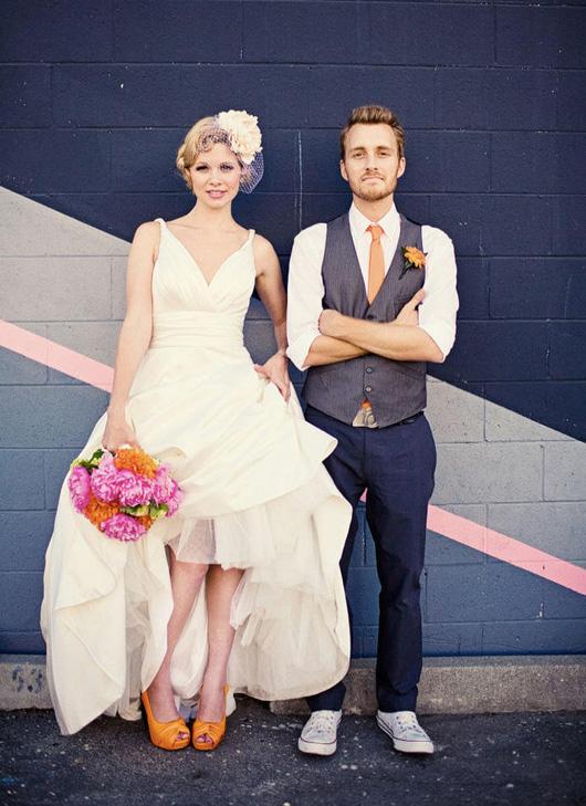 Chaussures de mariées de couleur