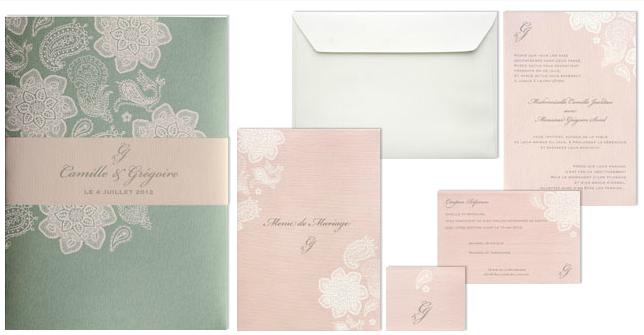 faire part mariage classique rose et vert