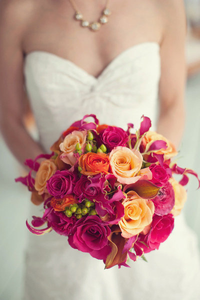 bouquet de mariée fushia orange jaune