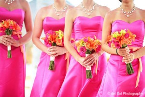 bridesmaids robe fushia