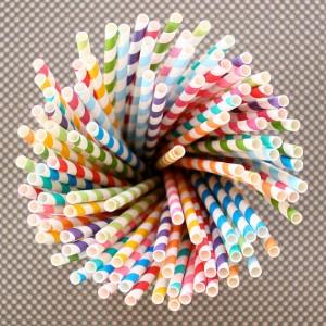 pailles rayées multicolores mariage