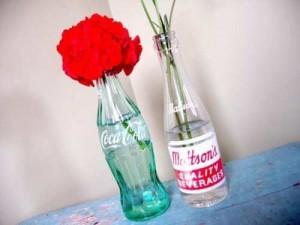 Centre de table mariage bouteille coca années 50