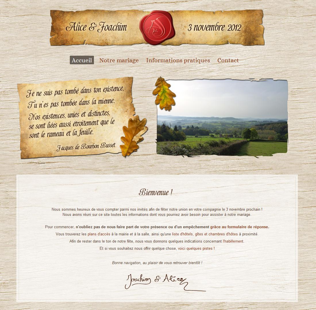 Site web mariage médieval