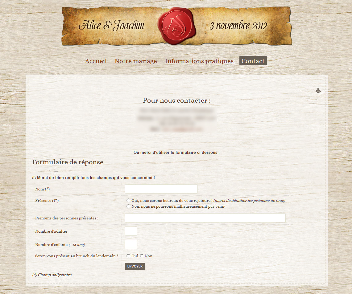 Site internet mariage médieval