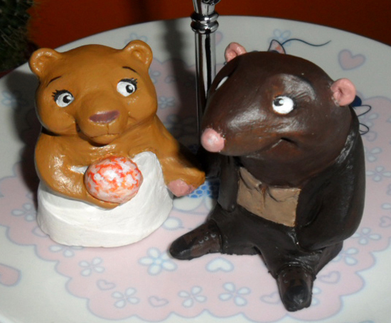 cake topper taupe et ourson