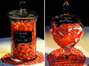 mariage rouge et blanc candy bar