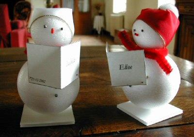 marque place mariage bonhomme de neige