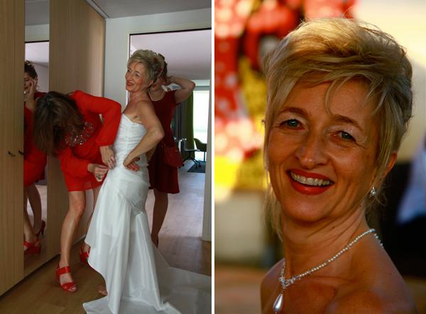 mariage rouge et blanc habillage mariée